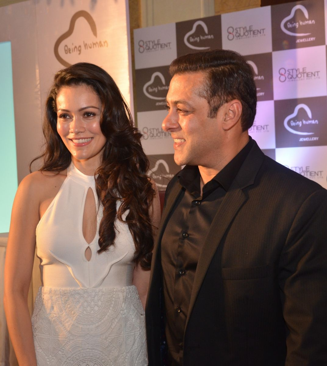 Bollywood Actress Waluscha Dsouza and  Salman Khan at the Launch of Being Human Jewellery