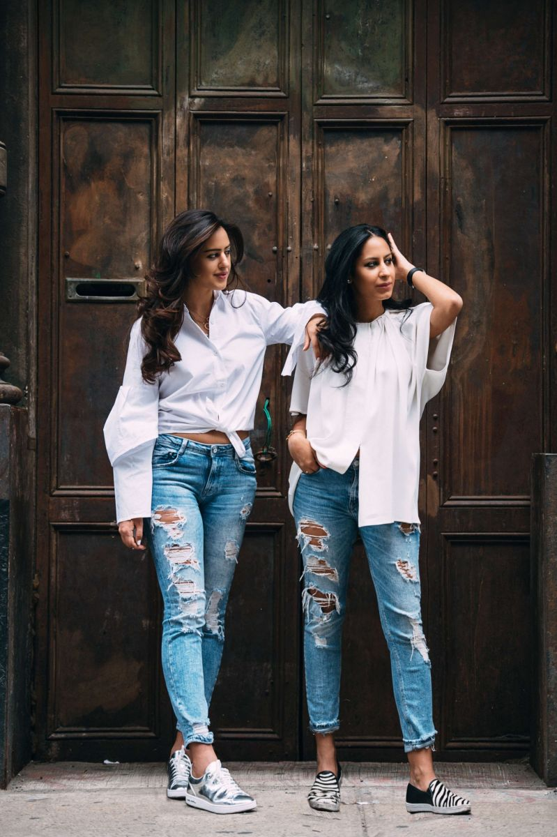Looking great in the classic denim and white combination