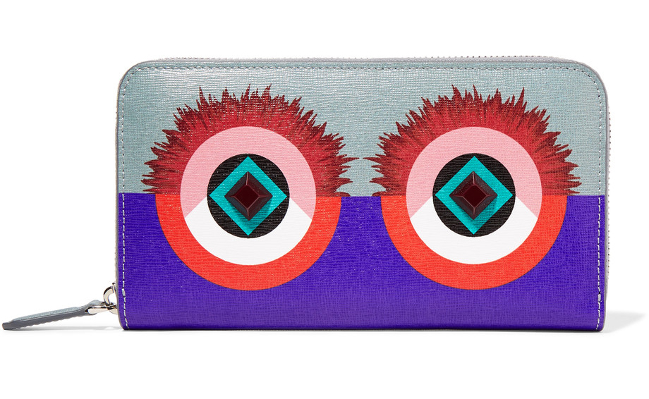 Fendi-2Jours-embellished-textured-leather-continental wallet
