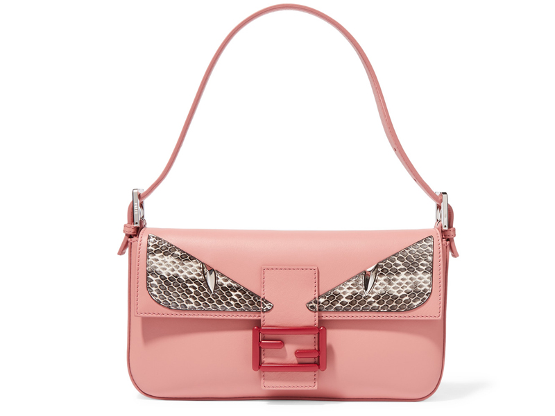 Fendi-Baguette-elaphe-trimmed-leather-shoulder-bag