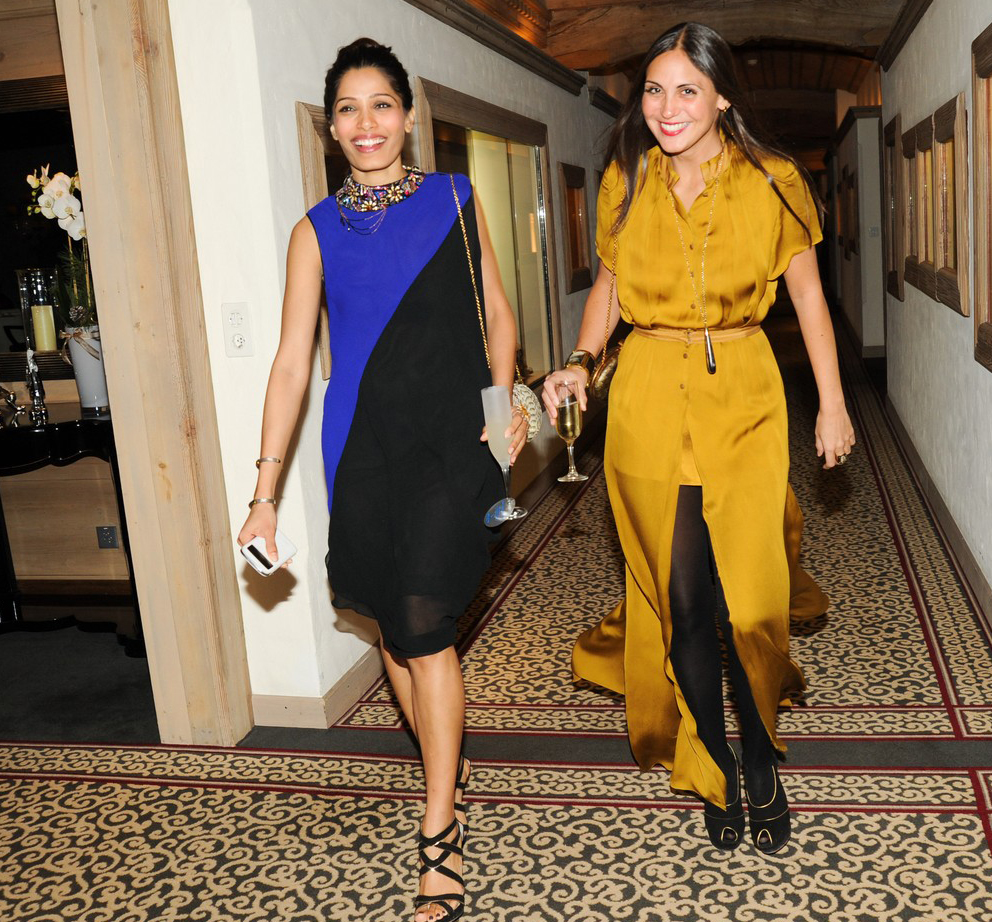 Freida Pinto and Sabine Heller at ASW event in Switzerland
