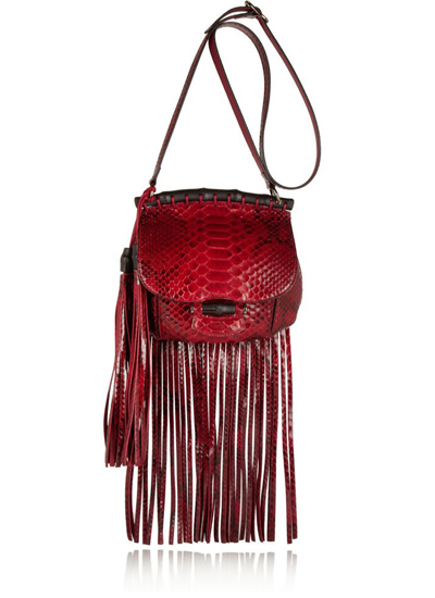 Gucci Fringed python shoulder bag