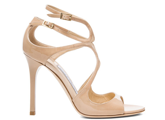Jimmy Choo Lang patent-leather sandals nude