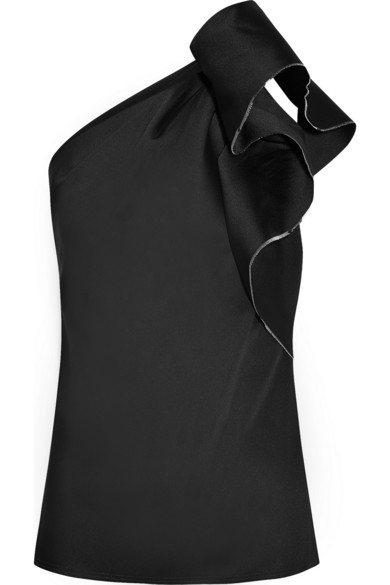 Lanvin One-shouldered satin-twill top