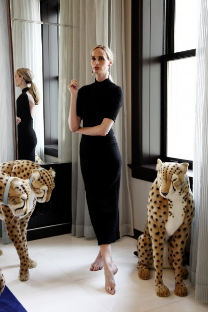 Lauren with her fashion mascots which travel with her to all Moda Operandi stores