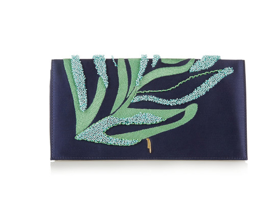 Maiyet Venus embroidered silk-satin and leather clutch