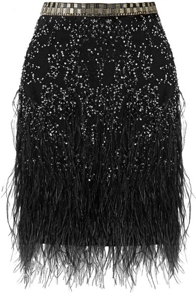 Matthew Williamson Feather-trimmed embellished tulle mini skirt