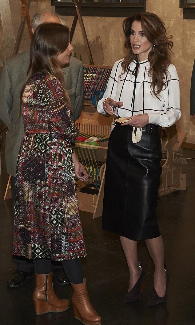 Queen Rania's favorite looks are monochr... blouse and pencil skirt combinations.