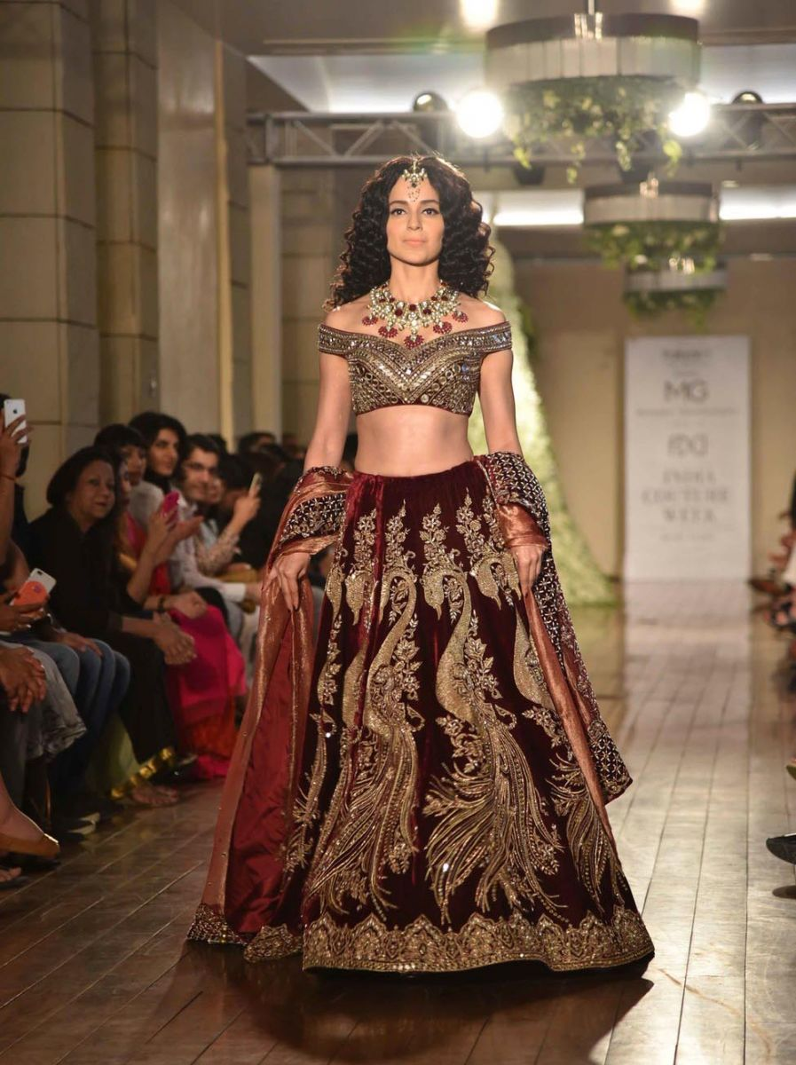 Renau-Maroon-choli-and-statement-neckpiece