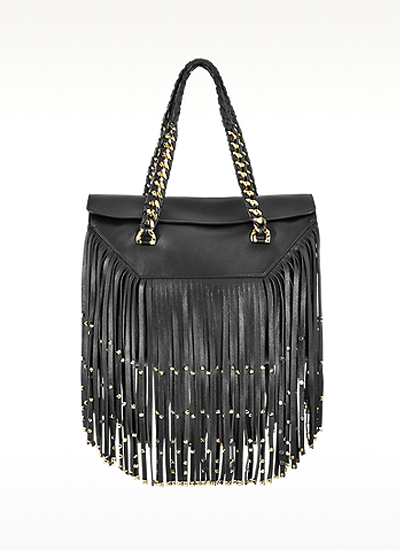 Roberto Cavalli Regina Black Smooth Lambskin W/Fringe and Studs