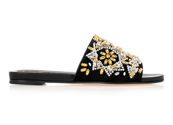 Rochas Embellished satin and leather slides