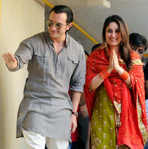 Saif and Kareena looking adorable on the day of their wedding