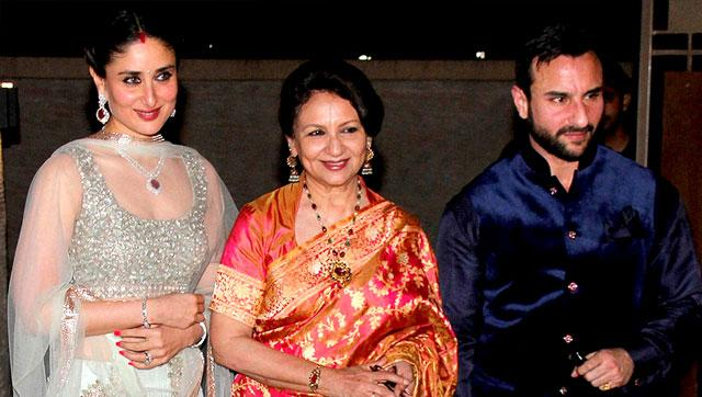 The couple with Sharmila Tagore, Saif's mother