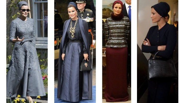 Sheikha Mozza never shows any skin, and covers her head albeit with uber fashionable headgear
