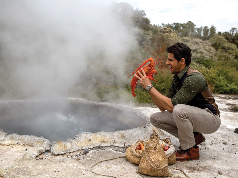 Sidharth-Malhotra-cooking-a-traditional-Maori=meal-in-New Zealand