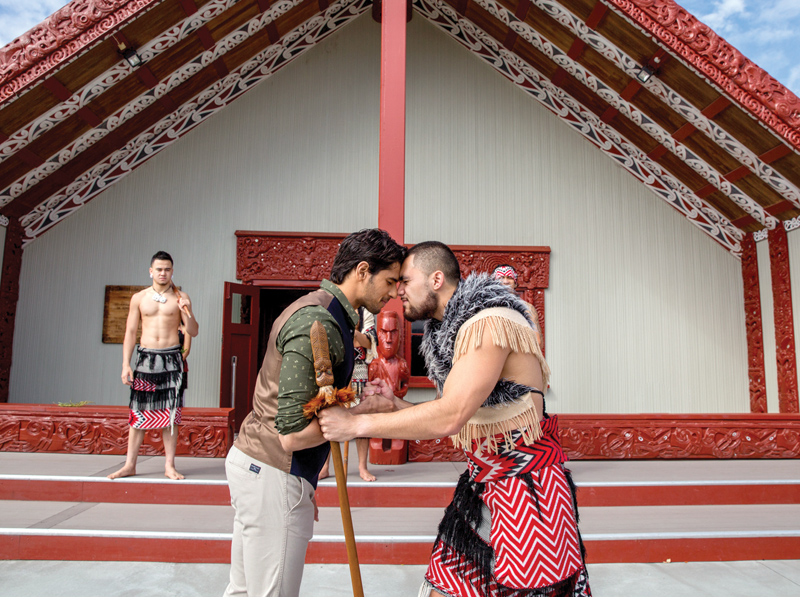 Sidharth-receives-a traditional-Powhiri
