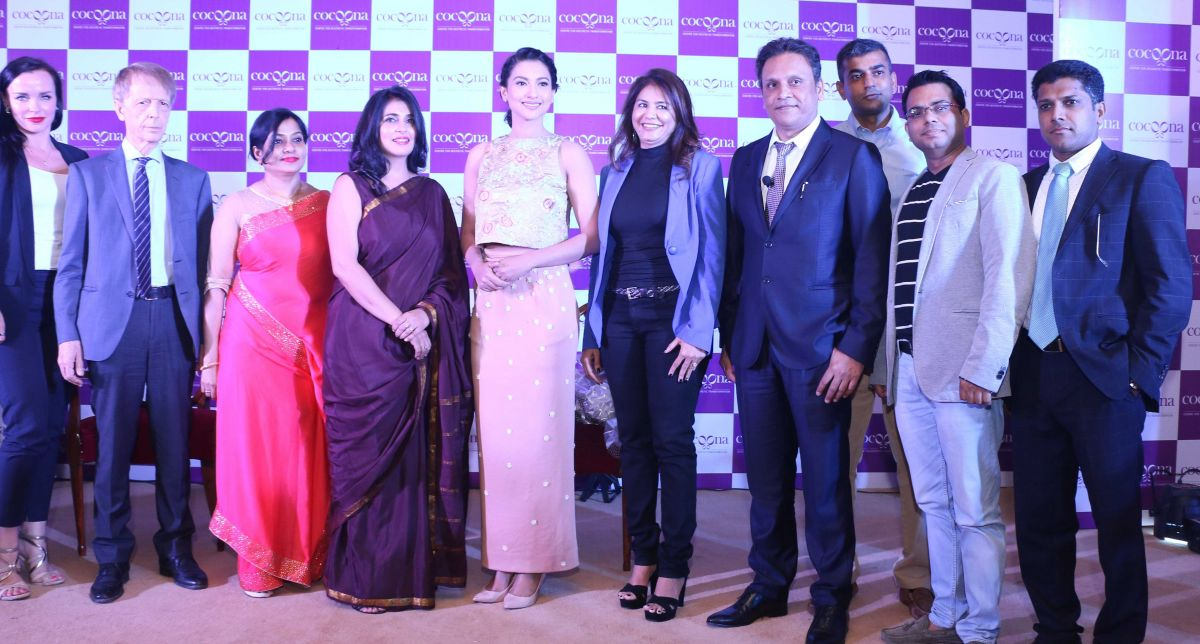 Cocoona team at the launch of Cocoona Centre for Aesthetic Transformation in New Delhi with Gauahar Khan