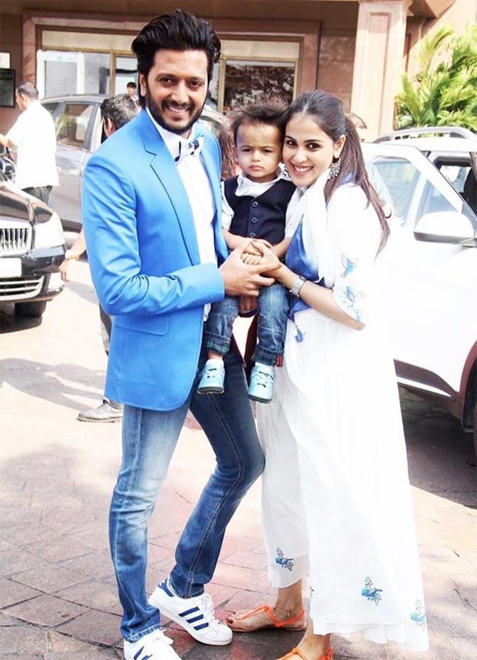 The birthday girl with son Riaan and husband Ritesh