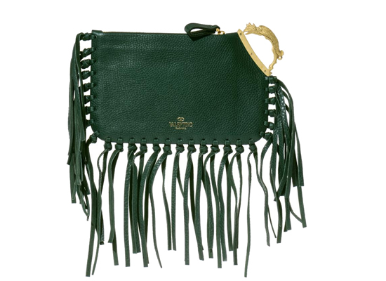 Valentino Gryphon- Handle Fringed Leather Clutch