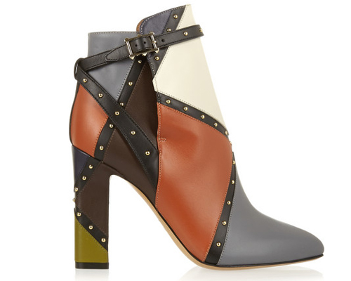 Valentino Studded color-block leather ankle boots