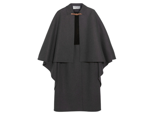 Valentino Suede-paneled wool-blend cape