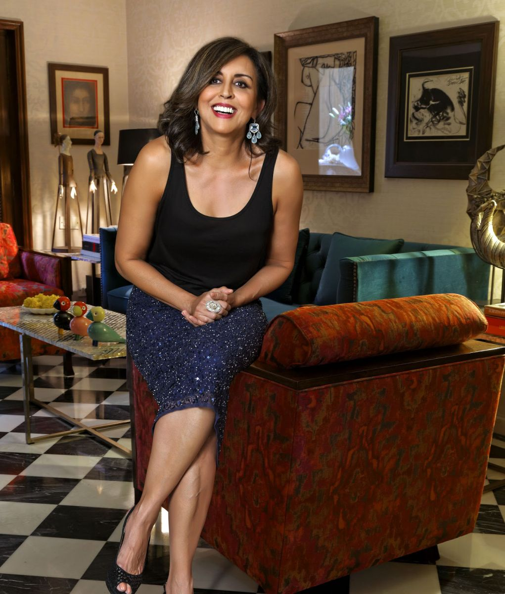 Vinita cuts a stylish and vibrant figure in her beautifully decorated home