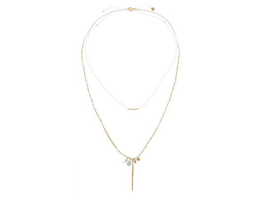 Chan Luu Set of two gold-plated thread necklaces