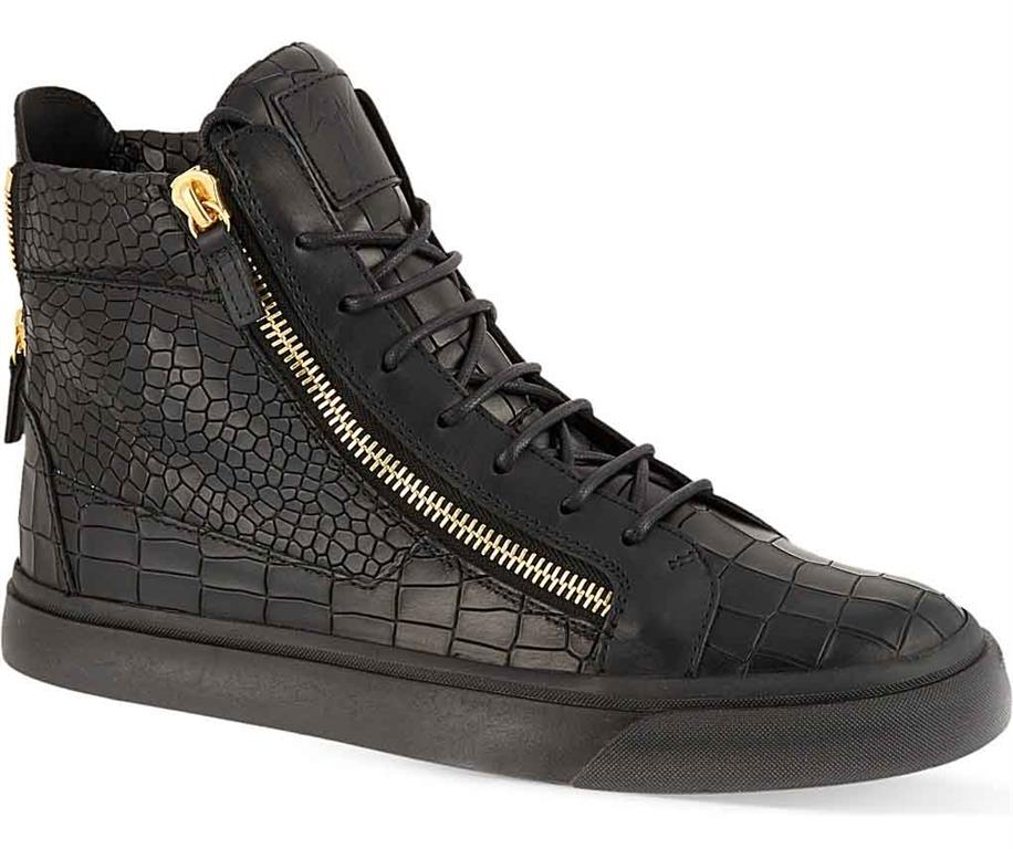 GIUSEPPE ZANOTTI Mock-croc leather high-top trainers