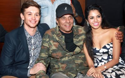 Travis Jeffery, Dharmendra, and Pooja Priyanka