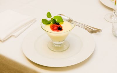 Lime Possets with Raspberries