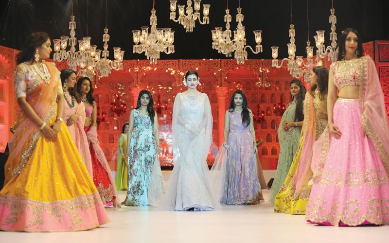 Sudha Reddy walking the ramp as the showstopper for Anushree Reddy