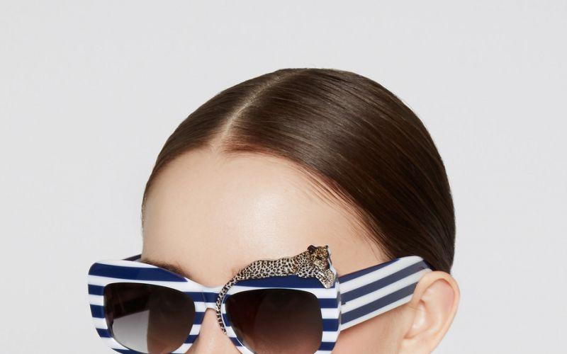 Anna-Karin Karlsson Rose et La Mer square-frame striped acetate sunglasses