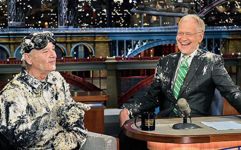 Bill Murray Jumps Out of a Cake for David Letterman