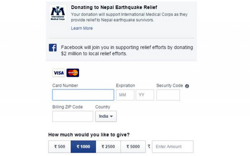 Facebook Matches Donations For Nepal Earthquake Relief