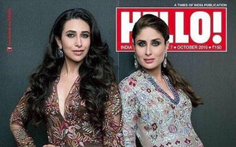 Karishma and Kareena Kapoor looking glamorous in Manish Malhotra