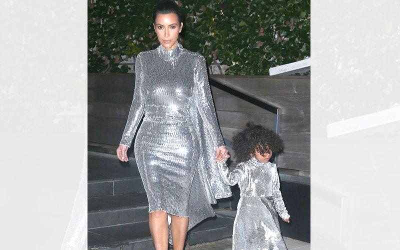 Kim-kardashian-north-west-silver-dresses