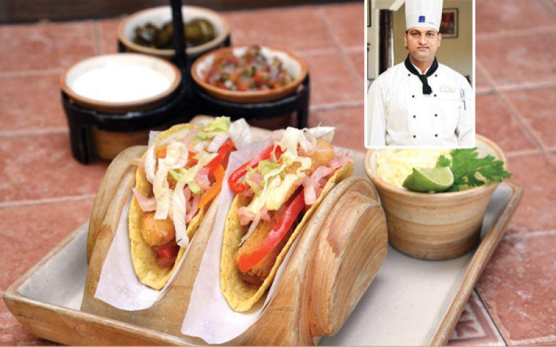 Panko fish with cabbage escabeche taco