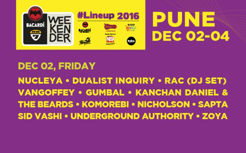 BACARDÍ NH7 Weekender 2016 announces Day-wise Festival Schedule and Day Tickets for Pune