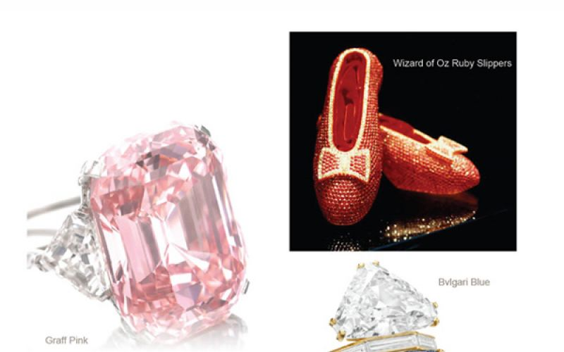 Wizard of Oz Ruby Slippers, Bvlgari Blue and Graff Pink
