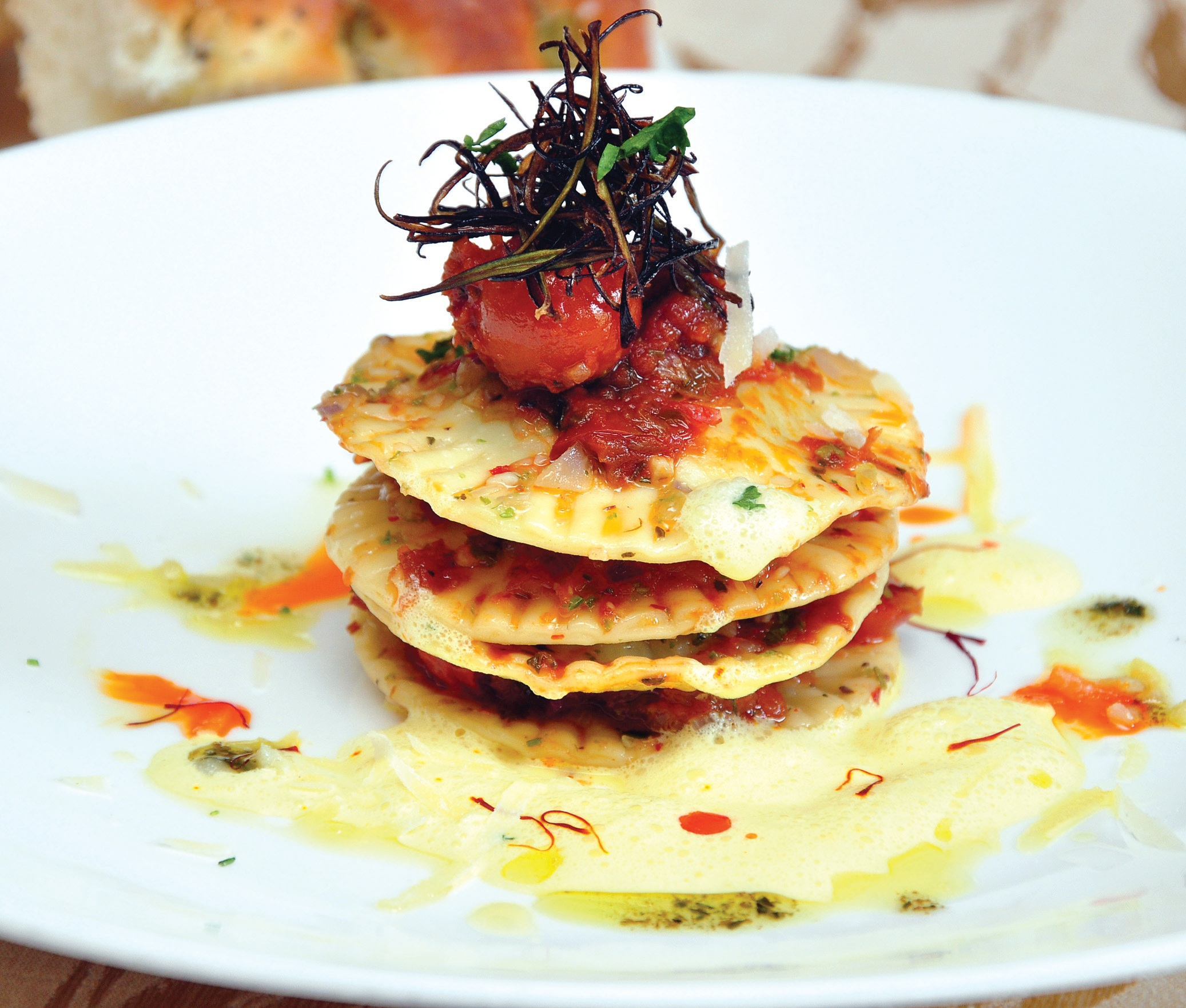 Get Cooking : Green Pea Ricotta Ravioli With Saffron Foam And Tomato Jam And Date Fudge Pie