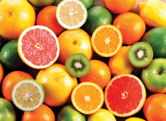 vitamin C-rich foods like oranges, bean sprouts, strawberries and tomatoes