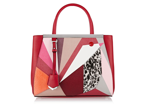 Fendi 2Jours small textured-leather, watersnake and calf hair shopper